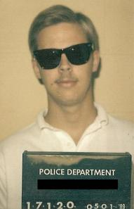The infamous mugshot. The real crime was obviously my hair style!