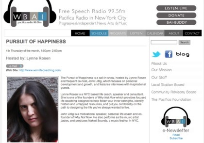 The Pursuit of Happiness (courtesy of WBAI)