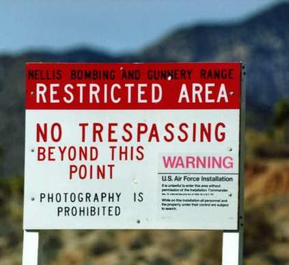 The warning sign outside Area 51 (Blackbird Gazette)