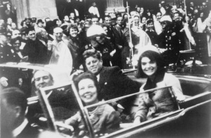 JFK en route to his death (Wikipedia Commons)