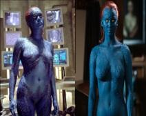 Mystique on film: Rebecca Romijn and Jennifer Lawrence (Marvel Entertainment)
