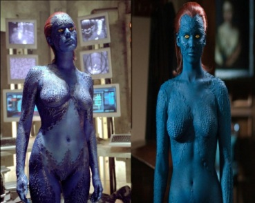 Mystique on film: Rebecca Romijn and Jennifer Lawrence (Marvel Entertainment)