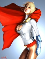 The powerful and top-heavy Power Girl (DC Comics)