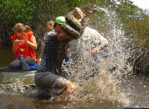 This Everglades tour guide met a python face-to-face (Paul Tarantino/Facebook)