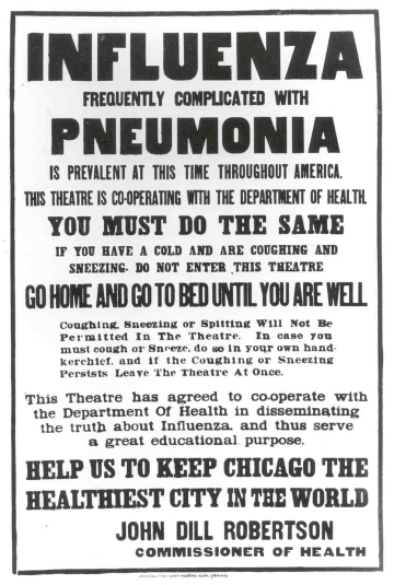 1918 Chicago flu poster - Office of the Public Health Service Historian