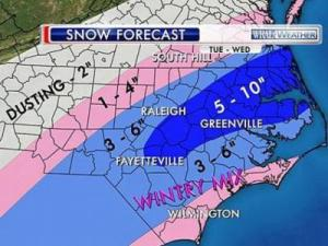 The forecast in my area (WRAL-TV)
