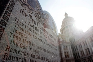 The Ten Commandments statue at the Oklahoma State Capitol (Christian Science Monitor)