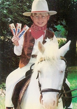 The Milkybar Kid atop his penis... um, I mean horse (Nestle/Daily Mail UK)